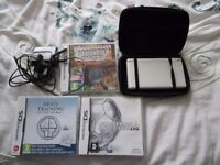White Nintendo DS Lite games Console Bundle- 3 games,charger and Stylus