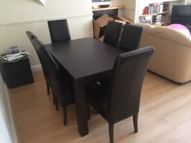 Dark Brown Wood Dining Set (6 chairs)