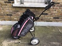 Ladies pink golf bag and trolley for sale in Fulham