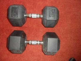 GOOD CONDITION 20kg RUBBER HEXAGONAL DUMBELLS