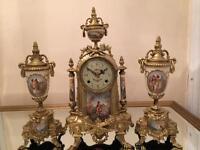 Antique solid brass 3 pieces porcelain mantel clock