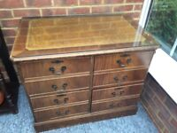 4 drawer filing cabinet with inlaid leather top and polished glass cover