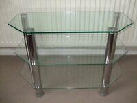 Glass & Chrome 3 Tier Corner TV Stand