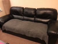 ROCHESTER black faux leather 3 + 2 seater sofa
