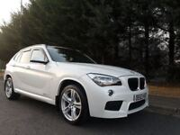 2014 BMW X1 2.0 18d M Sport xDrive 6SPEED PEARL WHITE RED LEATHER 4X4 STUNNING LOW MILEAGE EXAMPLE !