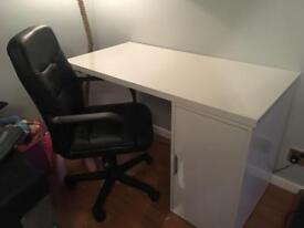 Ikea white desk and computer chair