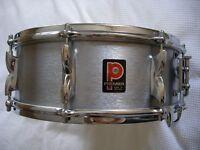 "Premier Model 37 Hi Fi alloy snare drum 14 x 5 1/2"" - 1972 - England - Brushed chrome"