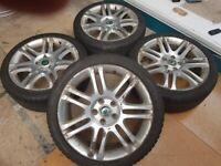 "18"" Genuine SKODA Superb Alloy Wheels & EXCELLENT WINTER TYRES...BARGAIN!!!"