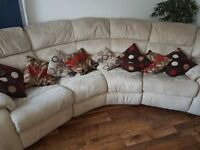 DFS sofa 7-8 seater cream beige, electric chair, large opening pouffe