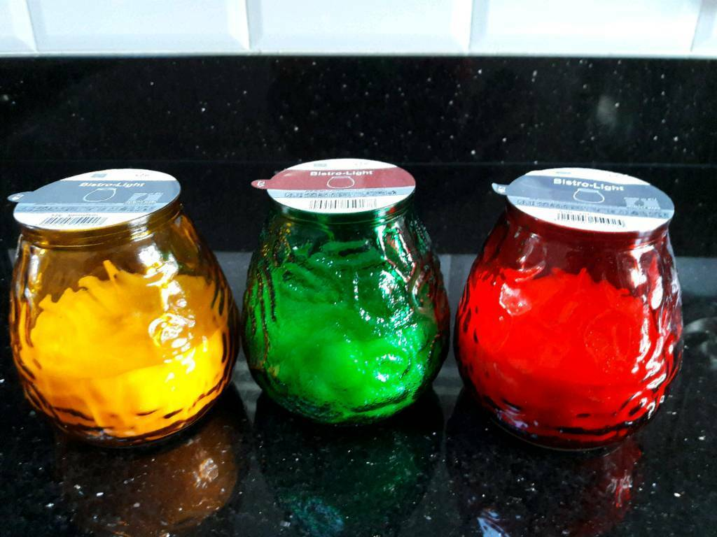 Coloured jar candles