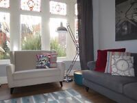 Light Grey/Putty JOHN LEWIS 2 Seater Wingback Sofa (Like NEXT SHERLOCK)