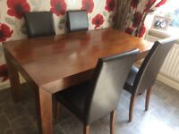 Next mahogany sideboard and dining table with 4 chairs