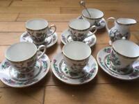 Royal grafton Indian tree tea cups, saucers, sugar bowl and milk jug