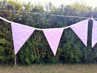 BUNTING / WEDDING / PARTY / FESTIVAL / TEA ROOM / PINK MATERIAL / ***5 LENGTHS!!!***