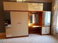 Retro Danish 1960s style wardrobe drawers vanity unit bedroom set