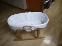 baby moses basket with rocking stand, only used a few times