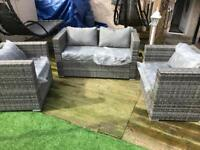 Outdoor conservatory garden set rattan seats, 4 seater sofa set in grey - Free delivery
