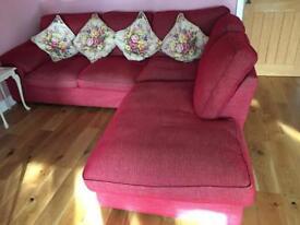 Raspberry red right- hand corner sofa.