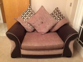 Large two seater and cuddler sofa and storage