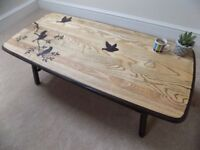 Beautiful upcycled natural ash and beech wood coffee table with 'Birds on a Branch' design