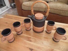 George Dear Pottery Tea / Coffee set. Pot and 5 mugs.