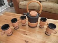 George Dear Pottery Tea / Coffee set. Pot and 5 mugs.