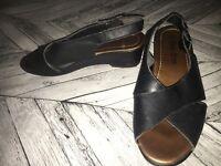 Size 5- Black Leather Sandals