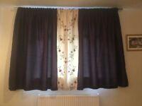 Beautiful plum satin effect curtains