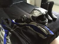 Motorbike jacket, boots, helmet and gloves