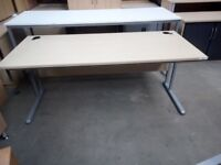 1800X800 Straight maple desk with silver legs