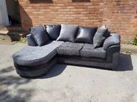 Stunning Brand new black and grey corner sofa with chase lounge.in the box.can deliver