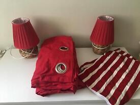 Red curtains lamps and cushion cover