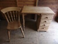 Solid pine 1980's carved dresser & writing desk with pine spindle back chair