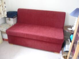 2 seater sofabed wine coloured chenille (guardsman protected) 137cm wide, VGC - Rutland - £100