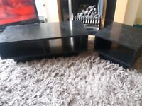 Black wood tv unit and side table