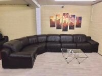 Large Dark Brown Leather Corner Sofa
