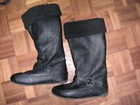Fur lined leather boots.