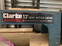 "Clarke 13 "" Mini Electric Lathe on wood stand"