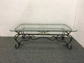 Glass Topped Coffee Table with Metal Frame