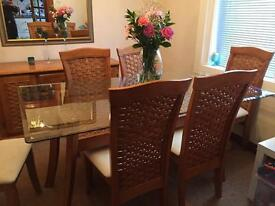 6 seater glass dining table, chairs and sideboard