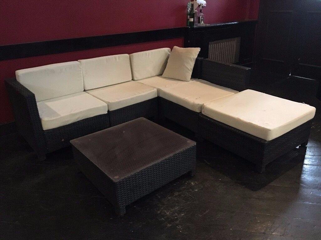 Urgent rattan garden furniture set sofa lounge black poly rattan strong outdoor patio corner wicker victoria