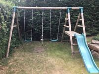 Plum Wooden Double Swing Set with Slide