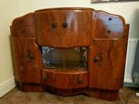 Vintage retro drinks cocktail cabinet art Deco mahogany and glass