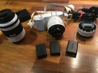 Samsung NX1000 Camera, with standard 20-50mm, 50-200 and 16mm wide angle lenses and accessories
