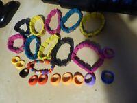 Job Lot, bulk collection, car boot of 10 Jesus Wooden Bracelets various colours + 10 plastic rings