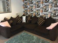 Dfs chocolate and gold corner sofa