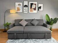 Reegan L Shaped Corner Sofa Bed – Grey – Hidden Storage & Reversible Chaise