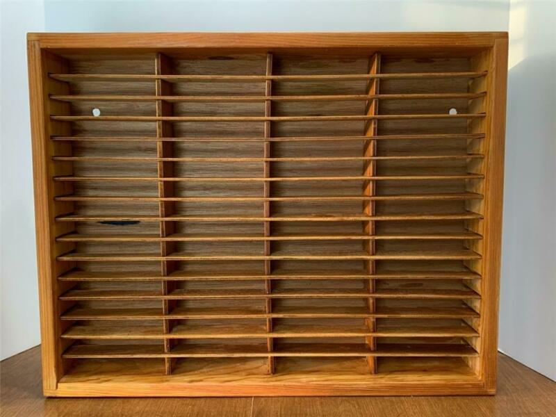 Vintage 64 Slot Napa Valley Co. Box Wood Cassette Tape Wall Rack Storage Holder