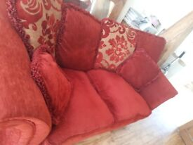 Beautiful Laura Ashley style sofa bed in rich red