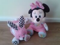BABY GIRLS TOY RABBIT BOOK & A DISNEY MINNIE MOUSE, VGC